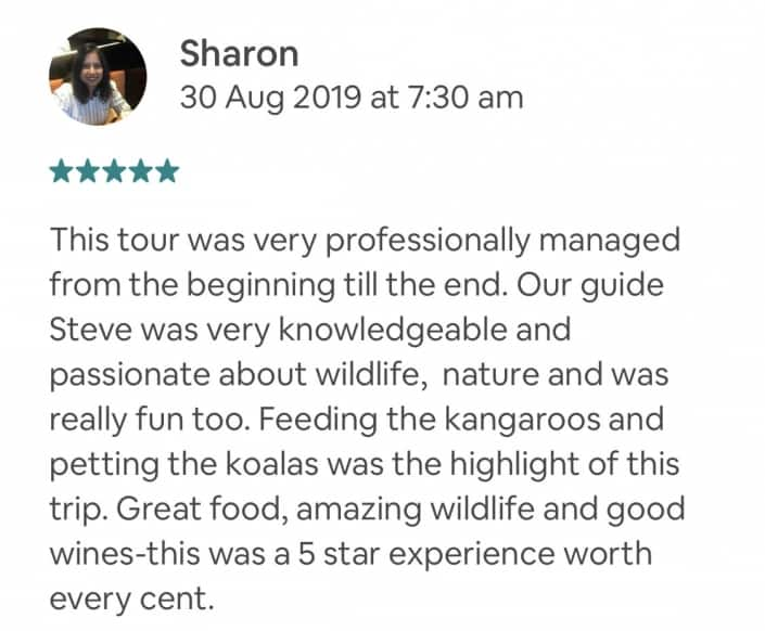 Wildlife-Waterfalls-Wine-review-Sharon-30-Aug-2019.jpg-This tour was very professionally managed from the beginning till the end. Our guide Steve was very knowledgeable and passionate about wildlife, nature and was really fun too. Feeding the kangaroos and petting the koalas was the highlight of this trip. Great food, amazing wildlife and good wines-this was a 5 star experience worth every cent.