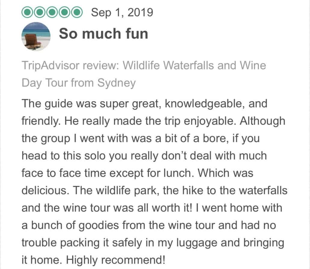 Wildlife-Waterfalls-Wine-review-So-Much-Fun-1-Sep-2019.jpg-The guide was super great, knowledgeable, and friendly. He really made the trip enjoyable. Although the group I went with was a bit of a bore, if you head to this solo you really don't deal with much face to face time except for lunch. Which was delicious. The wildlife park, the hike to the waterfalls and the wine tour was all worth it! I went home with a bunch of goodies from the wine tour and had no trouble packing it safely in my luggage and bringing it home. Highly recommend!