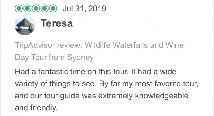 Wildlife-Waterfalls-Wine-review-Theresa-31-Jul-2019.jpg-Had a fantastic time on this tour. It had a wide variety of things to see. By far my most favorite tour, and our tour guide was extremely knowledgeable and friendly.