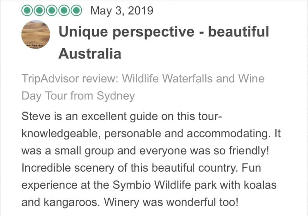 Wildlife-Waterfalls-Wine-review-Unique-Perspective-Beautiful-Australia-3-May-2019.jpg-Steve is an excellent guide on this tour- knowledgeable, personable and accommodating. It was a small group and everyone was so friendly! Incredible scenery of this beautiful country. Fun experience at the Symbio Wildlife park with koalas and kangaroos. Winery was wonderful too!