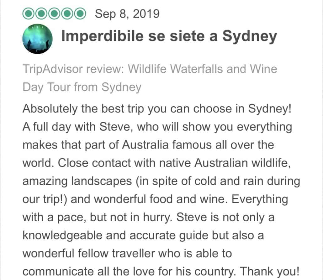 Wildlife-Waterfalls-Wine-review-Unmissable-It's-Seven-A-Sydney-8-Sep-2019.jpg-Absolutely the best trip you can choose in Sydney! A full day with Steve, who will show you everything makes that part of Australia famous all over the world. Close contact with native Australian wildlife, amazing landscapes (in spite of cold and rain during our trip!) and wonderful food and wine. Everything with a pace, but not in hurry. Steve is not only a knowledgeable and accurate guide but also a wonderful fellow traveller who is able to communicate all the love for his country. Thank you!