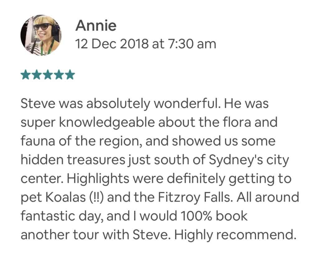 Steve was absolutely wonderful. He was super knowledgeable about the flora and fauna of the region, and showed us some hidden treasures just south of Sydney's city center. Highlights were definitely getting to pet Koalas (!!) and the Fitzroy Falls. All around fantastic day, and I would 100% book another tour with Steve. Highly recommend.