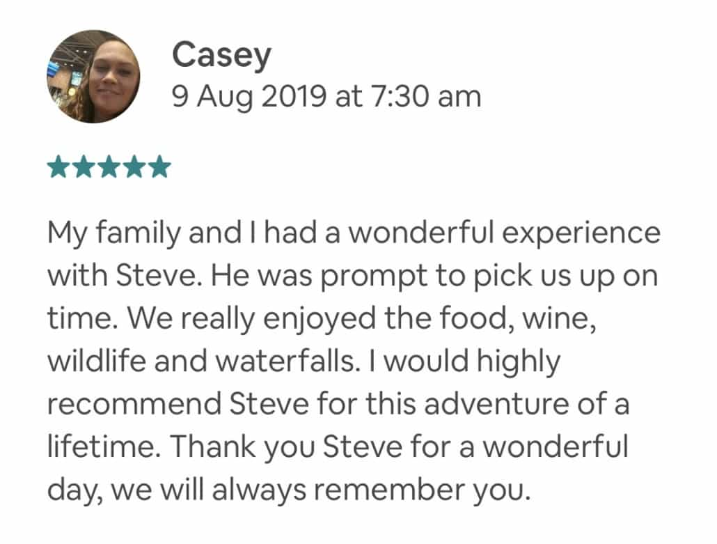 My family and I had a wonderful experience with Steve. He was prompt to pick us up on time. We really enjoyed the food, wine, wildlife and waterfalls. I would highly recommend Steve for this adventure of a lifetime. Thank you Steve for a wonderful day, we will always remember you.