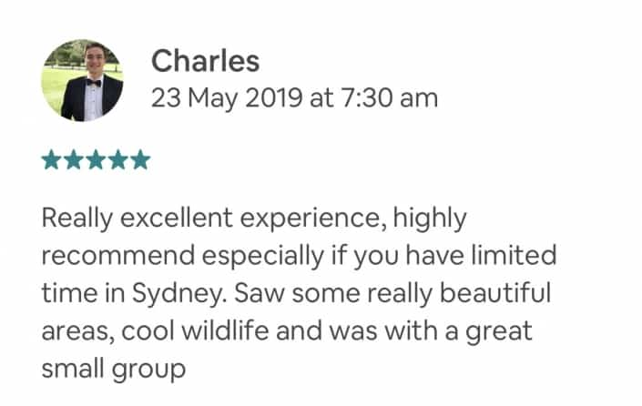Really excellent experience, highly recommend especially if you have limited time in Sydney. Saw some really beautiful areas, cool wildlife and was with a great small group