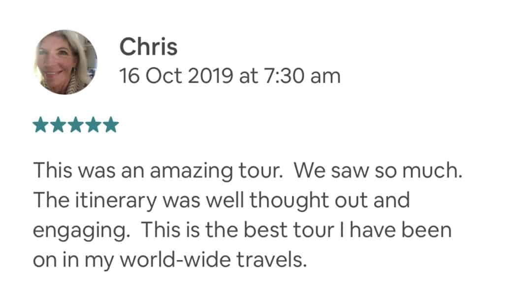 This was an amazing tour. We saw so much. The itinerary was well thought out and engaging. This is the best tour I have been on in my world-wide travels. Private Feedback: Thanks Steve!