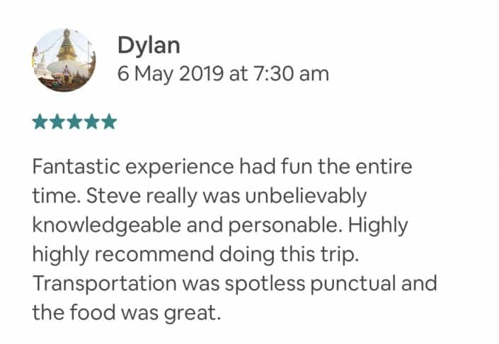 Fantastic experience had fun the entire time. Steve really was unbelievably knowledgeable and personable. Highly highly recommend doing this trip. Transportation was spotless punctual and the food was great.