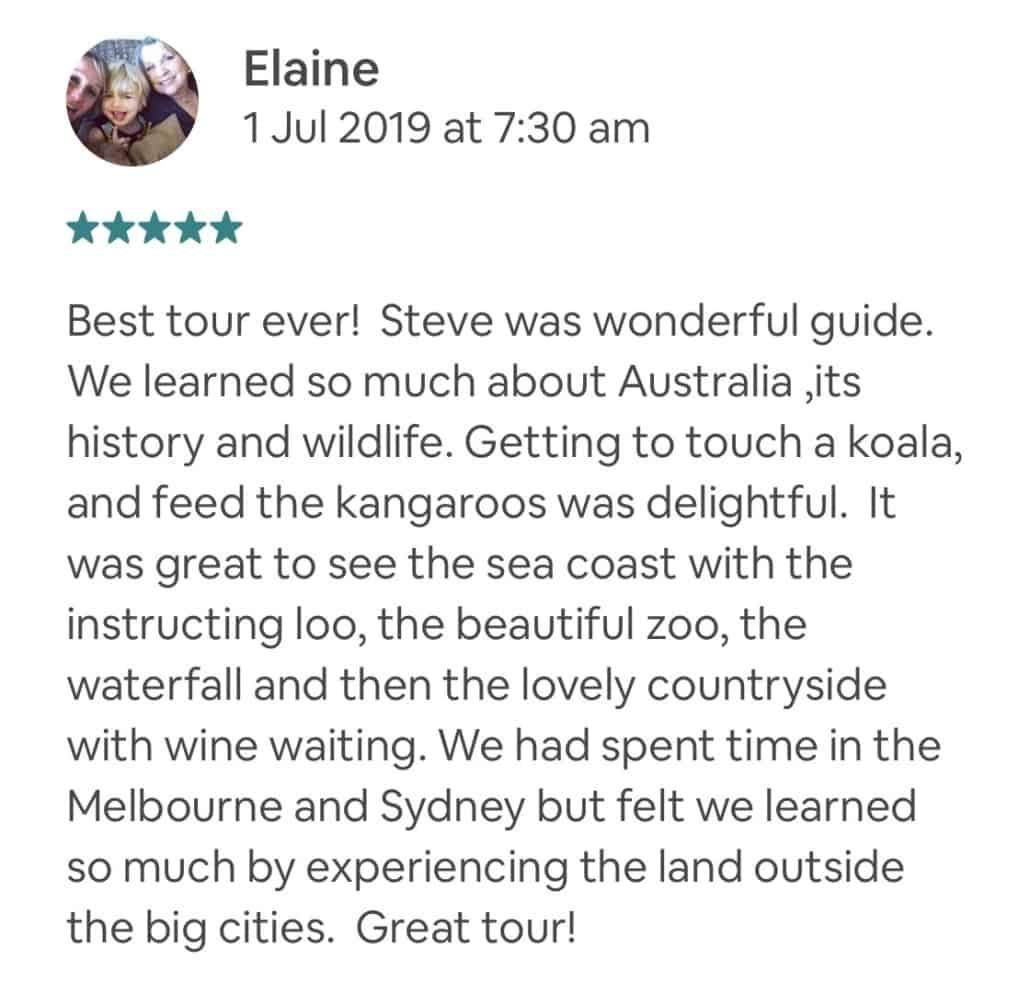 Best tour ever! Steve was wonderful guide. We learned so much about Australia ,its history and wildlife. Getting to touch a koala, and feed the kangaroos was delightful. It was great to see the sea coast with the instructing loo, the beautiful zoo, the waterfall and then the lovely countryside with wine waiting. We had spent time in the Melbourne and Sydney but felt we learned so much by experiencing the land outside the big cities. Great tour!