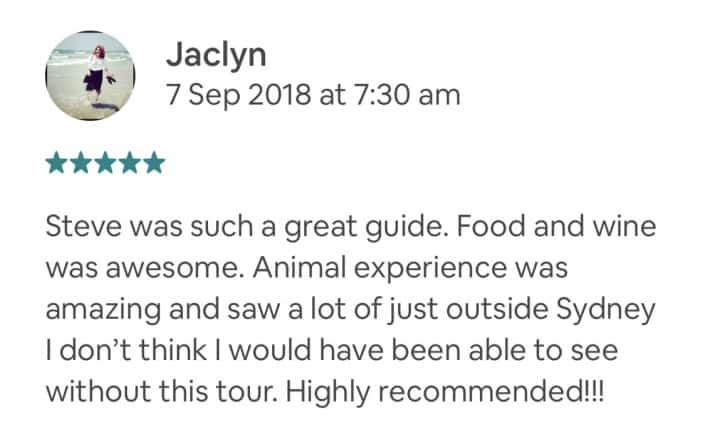 Steve was such a great guide. Food and wine was awesome. Animal experience was amazing and saw a lot of just outside Sydney I don't think I would have been able to see without this tour. Highly recommended!!!