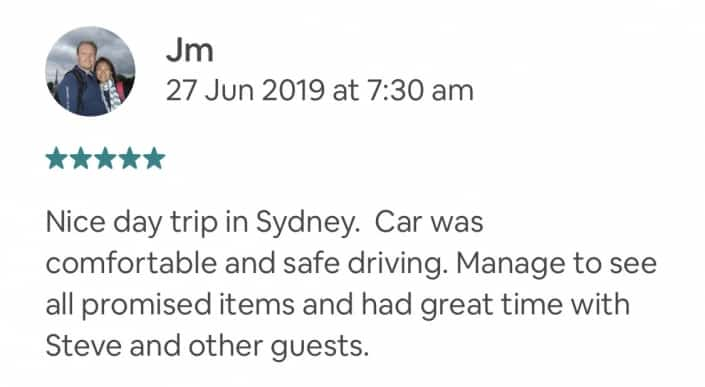 Nice day trip in Sydney. Car was comfortable and safe driving. Manage to see all promised items and had great time with Steve and other guests.