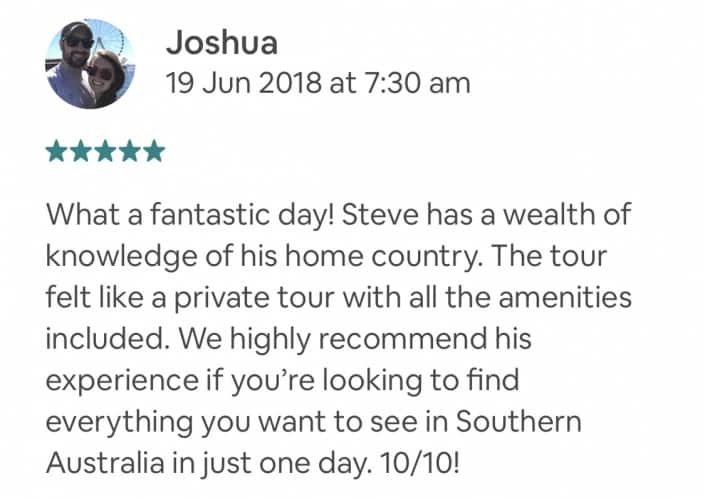 What a fantastic day! Steve has a wealth of knowledge of his home country. The tour felt like a private tour with all the amenities included. We highly recommend his experience if you're looking to find everything you want to see in Southern Australia in just one day. 10/10!