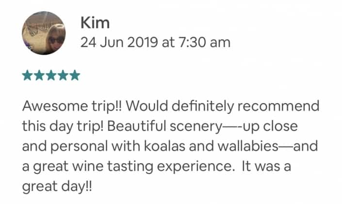 Awesome trip!! Would definitely recommend this day trip! Beautiful scenery—-up close and personal with koalas and wallabies—and a great wine tasting experience. It was a great day!!