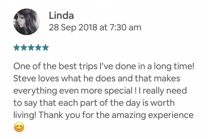 One of the best trips I've done in a long time! Steve loves what he does and that makes everything even more special ! I really need to say that each part of the day is worth living! Thank you for the amazing experience 😊