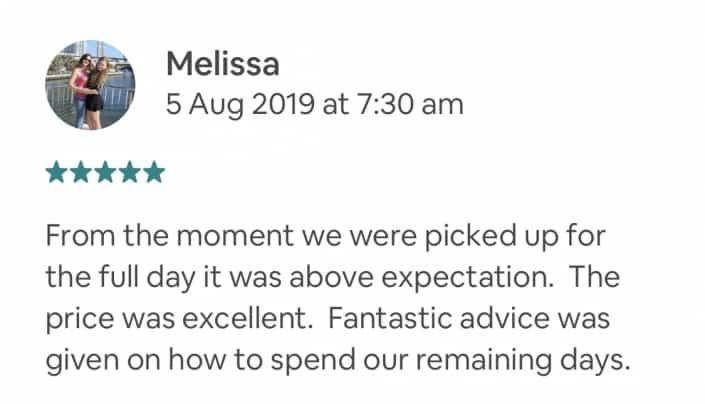 From the moment we were picked up for the full day it was above expectation. The price was excellent. Fantastic advice was given on how to spend our remaining days.