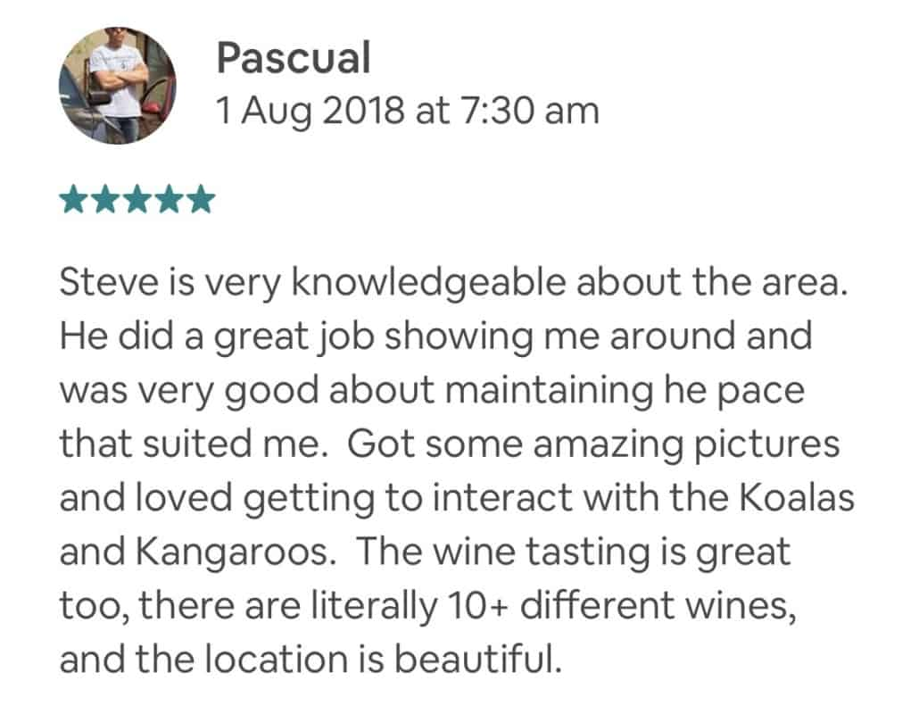 Steve is very knowledgeable about the area. He did a great job showing me around and was very good about maintaining he pace that suited me. Got some amazing pictures and loved getting to interact with the Koalas and Kangaroos. The wine tasting is great too, there are literally 10+ different wines, and the location is beautiful.