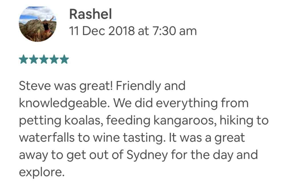 Steve was great! Friendly and knowledgeable. We did everything from petting koalas, feeding kangaroos, hiking to waterfalls to wine tasting. It was a great away to get out of Sydney for the day and explore.