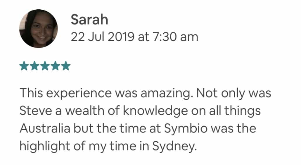 This experience was amazing. Not only was Steve a wealth of knowledge on all things Australia but the time at Symbio was the highlight of my time in Sydney.