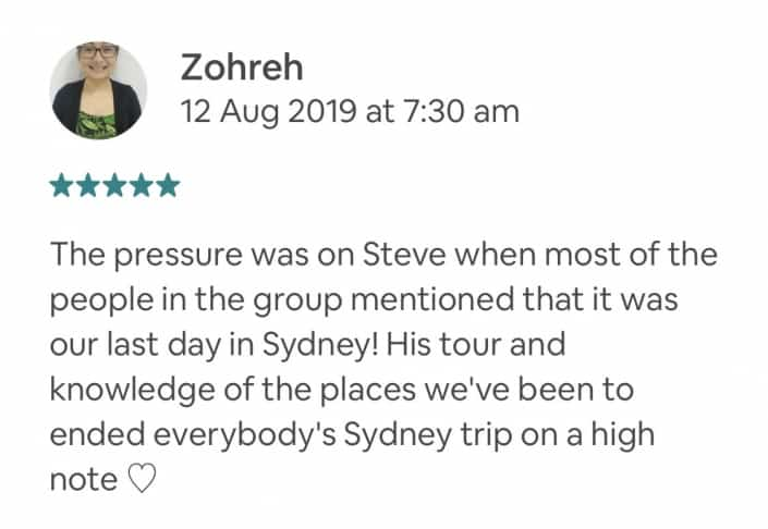 The pressure was on Steve when most of the people in the group mentioned that it was our last day in Sydney! His tour and knowledge of the places we've been to ended everybody's Sydney trip on a high note ♡
